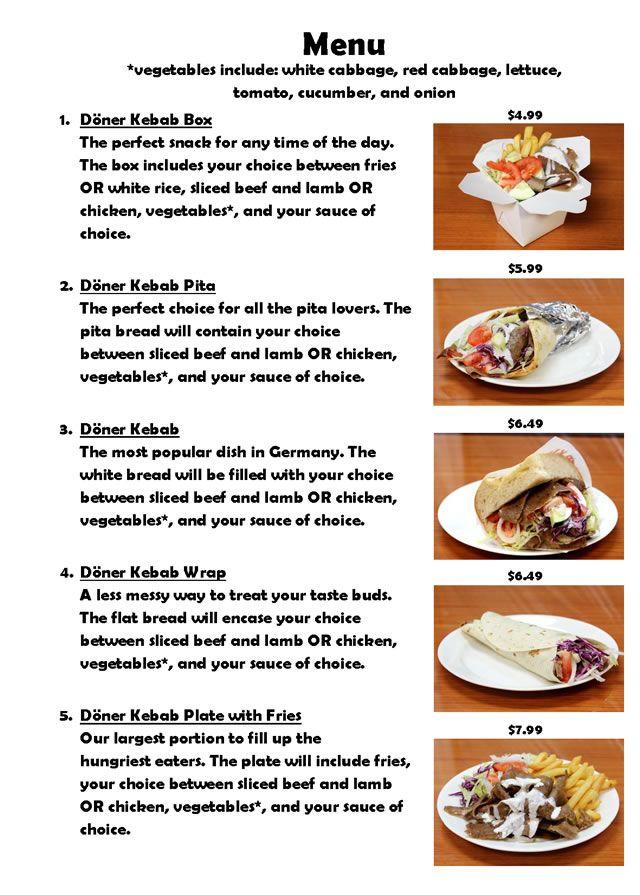 Sons Doner Kebab Restaurant Menu Statesboro Restaurants