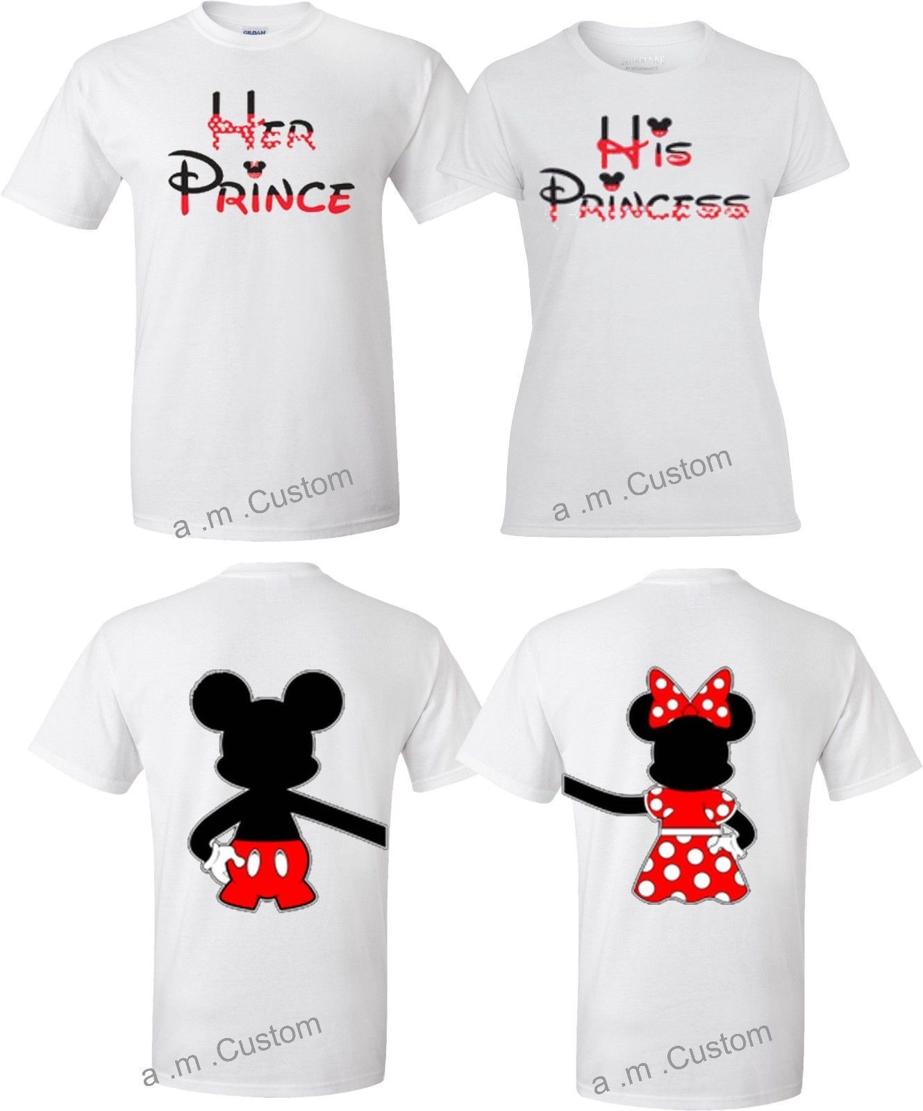 bf9a59d2f3 Mickey and Minnie Disney Prince and Princess couple matching funny cute T-Shirts  in Clothing, Shoes & Accessories, Unisex Clothing, Shoes & Accs, ...