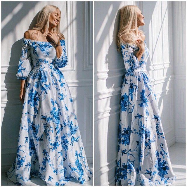 Blue flower maxi dress long sleeve