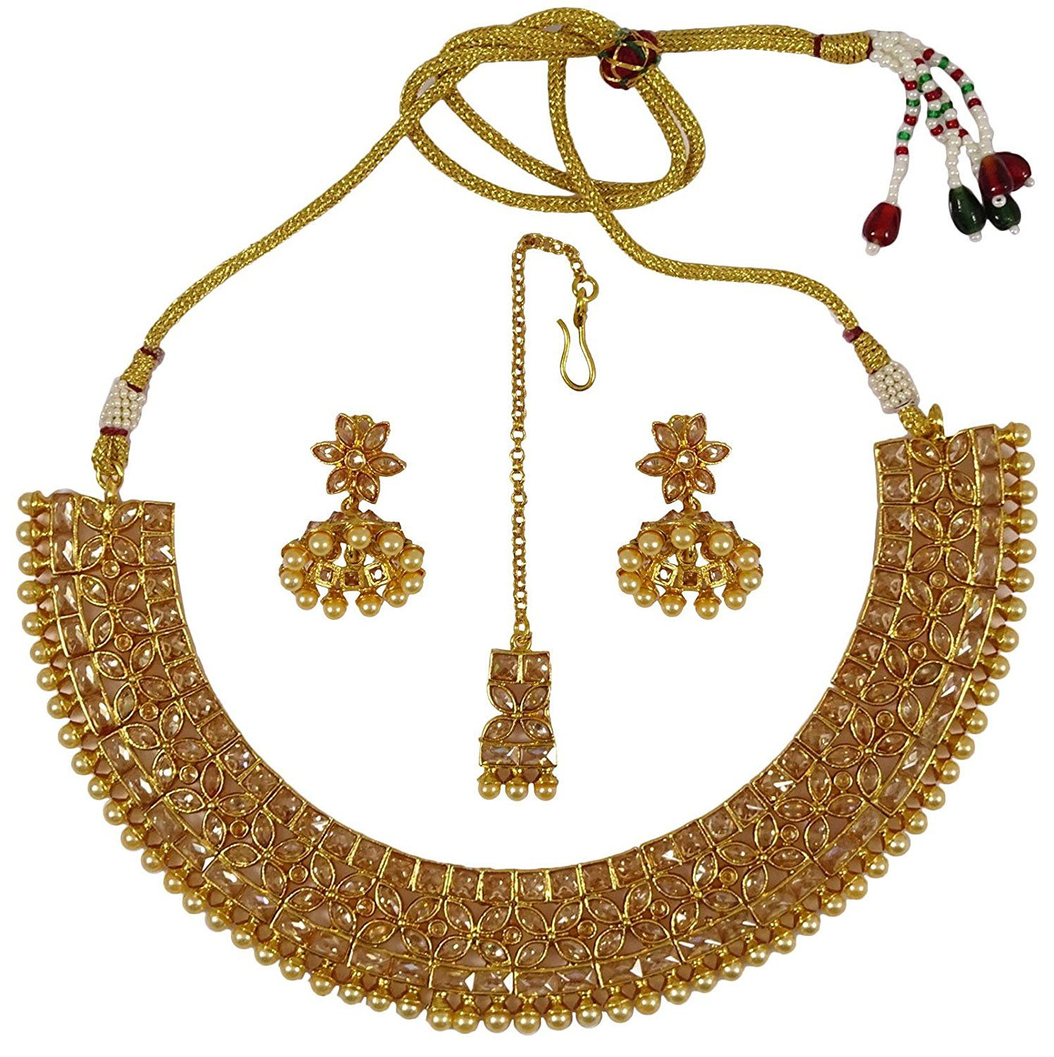 Engagement & Wedding Traditional Gold Tone Kundan 2pc Necklace Set Ethnic Wedding Bollywood Jewellery Bridal & Wedding Party Jewelry