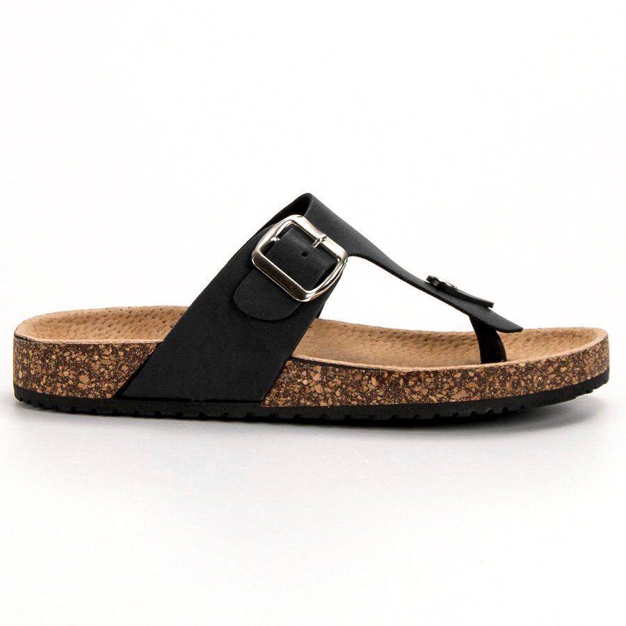 Seastar Wygodne Japonki Czarne Comfortable Flip Flops Womens Slippers Rubber Heels