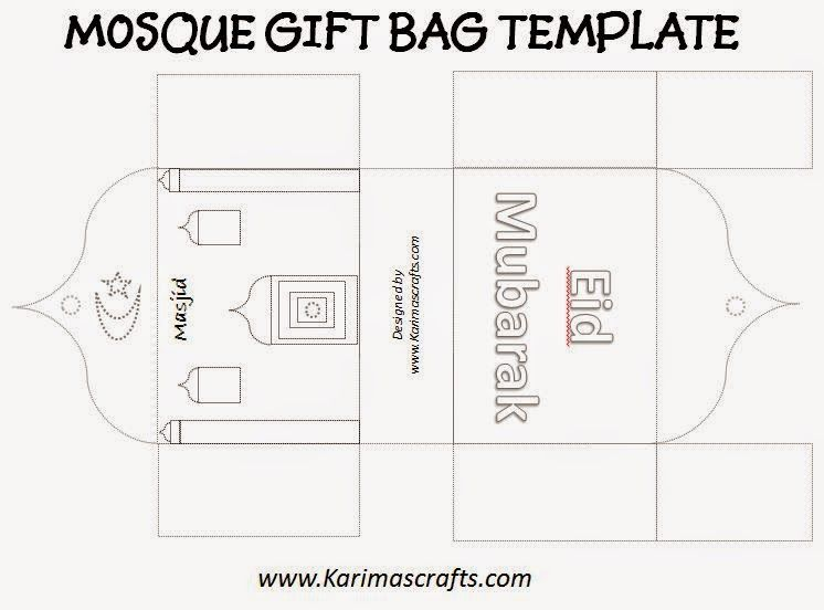 Karimau0027s Crafts Mosque Gift Bag Template - 30 Days of Ramadan - eid card templates