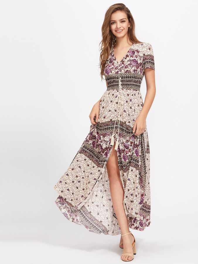Tasseled Tie Smocked Waist Mixed Print Dress