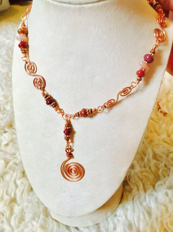 Copper spiral necklace