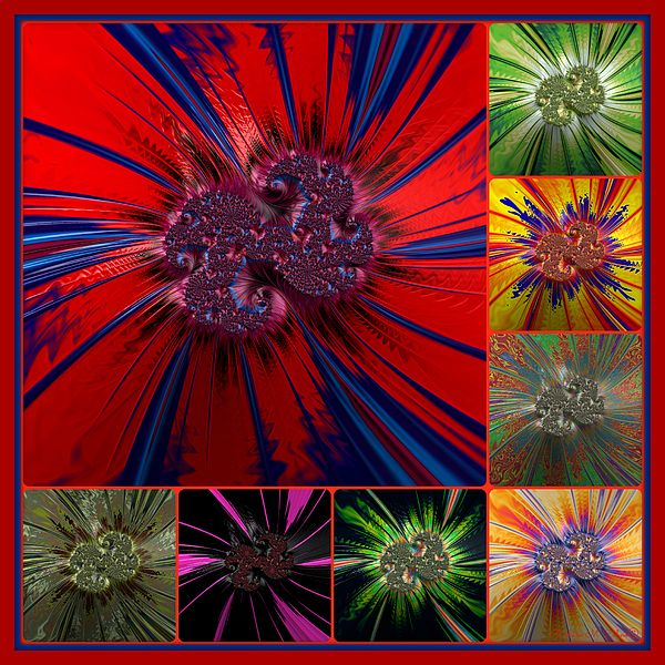 Color Explosion By Barbara Zahno Fractal Art Abstract Designer Throw Pillows