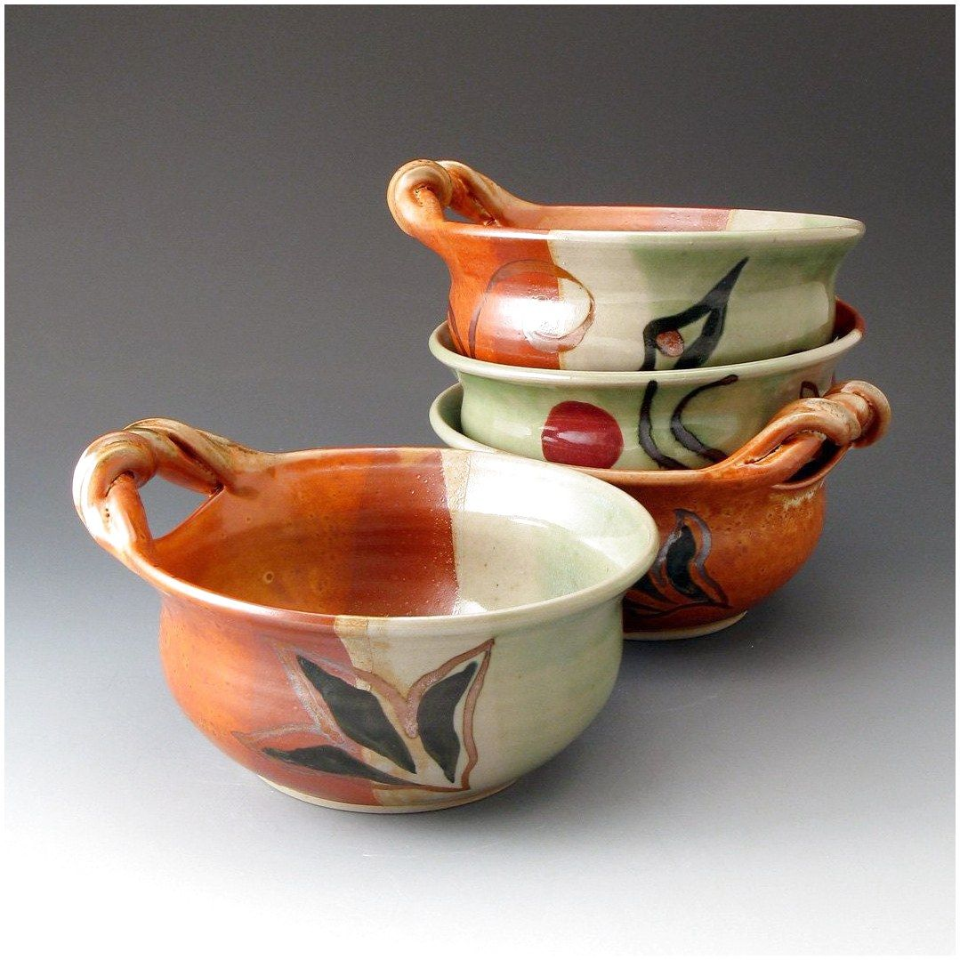 Its Soup Vintage Pair of Italian  Glazed Clay Hand Painted Handled Bowls