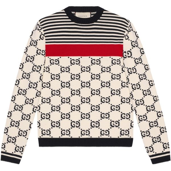 992cbf028 Gucci Gg Intarsia Cotton Sweater ($1,160) ❤ liked on Polyvore featuring  men's fashion, men's clothing, men's sweaters, cotton, men, new knitwear,  ...