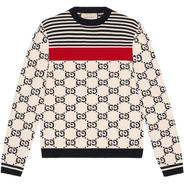 16564392b Gucci Gg Intarsia Cotton Sweater ( 1