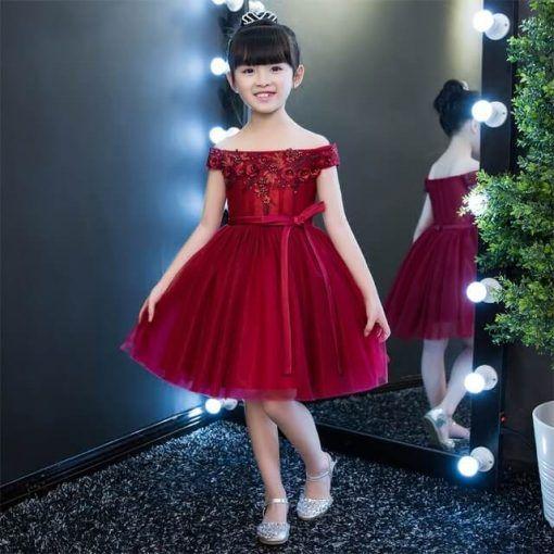30e7f1461 Vestido de fiesta corto para niña color vino Comprar Vestidos De Fiesta
