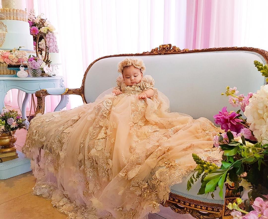 The precious Valentina wearing #custommade #Velani #couture #christeninggown #kidscouture #princess #wow #love #baptism #photography by @dimages.com.au  event stylingcakes and planning @sweetbloomcakes @maryronisevents #flowers by @crazyaboutflowers @natalienader #baby #babylove #babycouture by velani