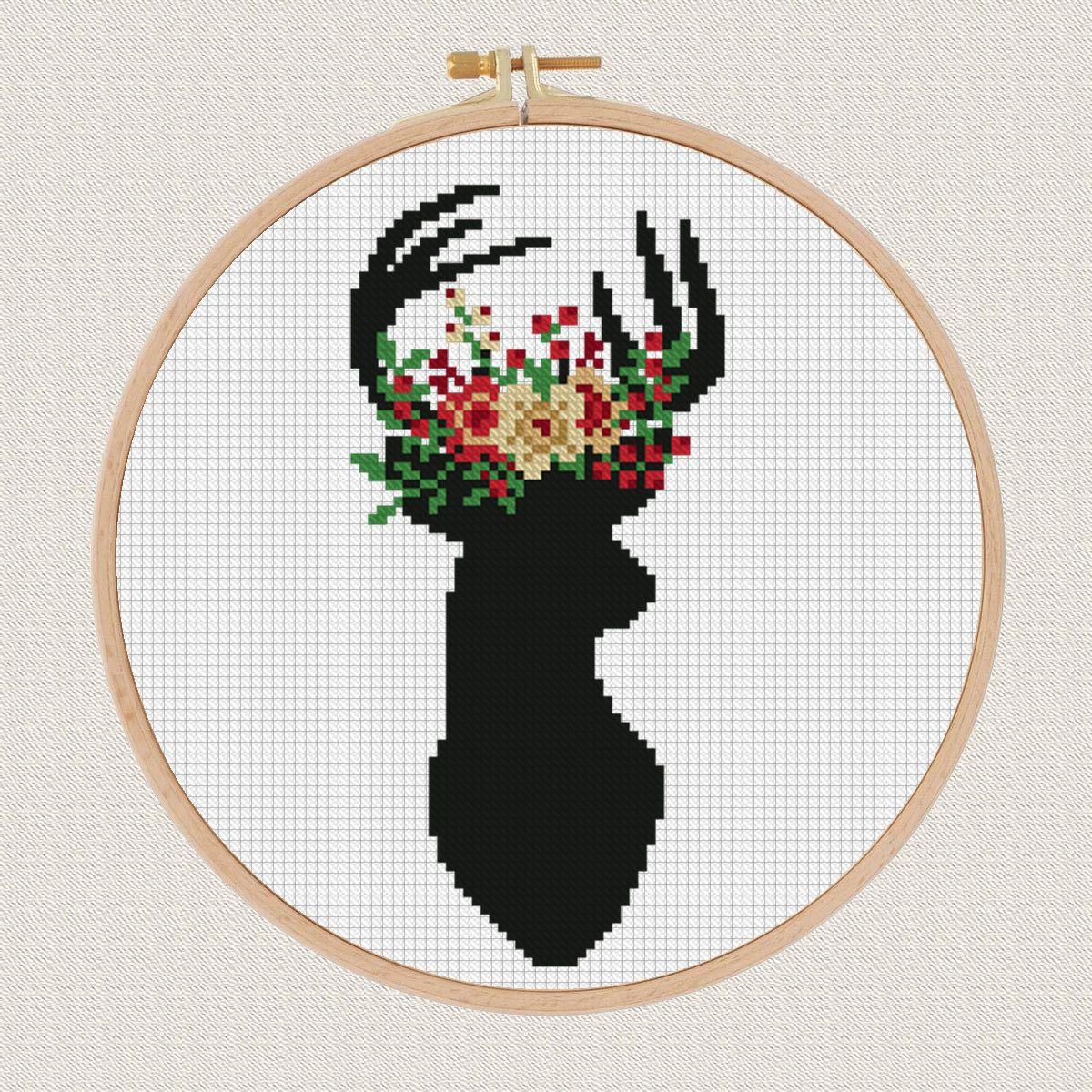 Photo of Blumen Kreuzstich Stickerei Nadel Hirschgeweih Blume Thema Querheftungskreuzheftungs Geweih Antlers Stag Kreuzstich