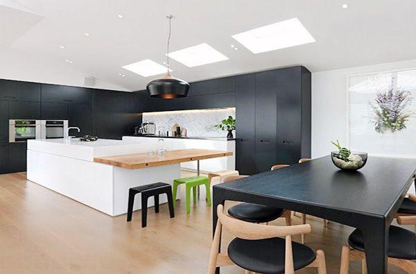 Aménagement cuisine blanche, noire et bois- 35 idées cool Cuisine