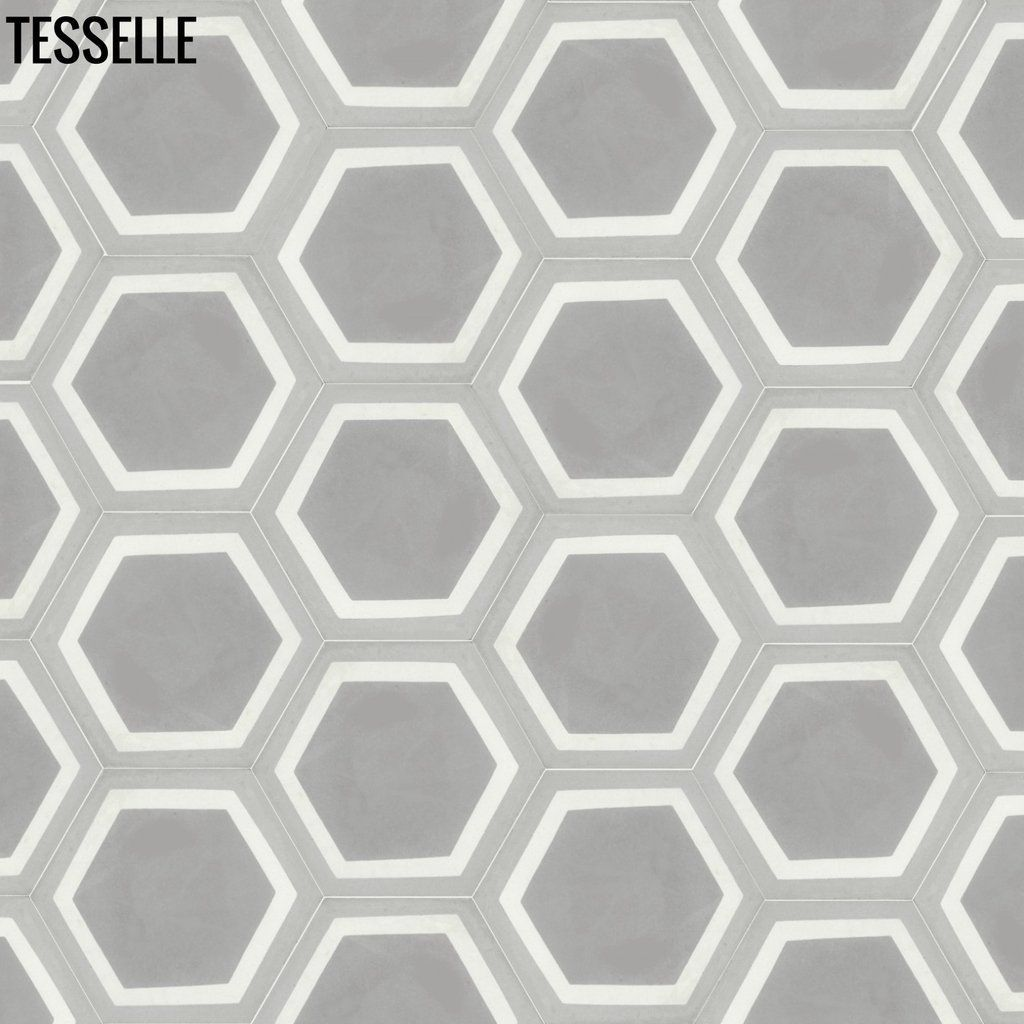 "La Cella Misti 9x8"" Hexagonal Cement Tile 32"" 