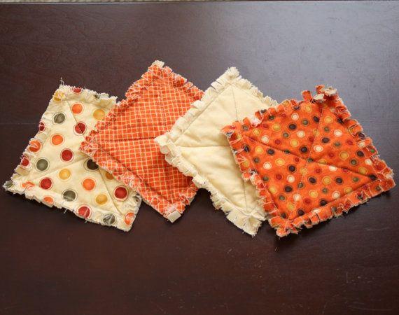 Rag Quilt style coastersmug rug Primitive and modern