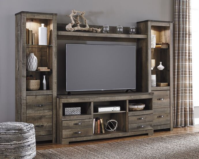 Ashley Furniture W446 68 24 24 27 4 Pc Trinell Warm Brown Rustic