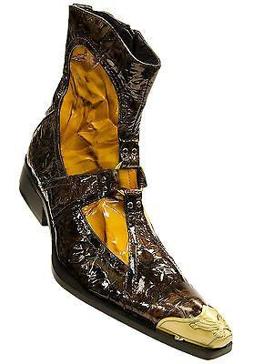Fiesso Mens Brown Gold Mustard Patent Leather Metal Tip Pointed Toe Ankle Boot