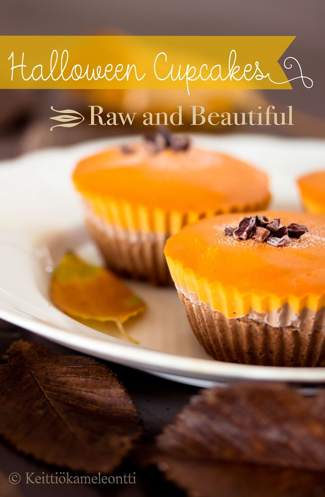 Raw Halloween Cupcakes - Suklaataivas, Osa I: Halloween Kuppikakut (Raw) | Keittiökameleontti