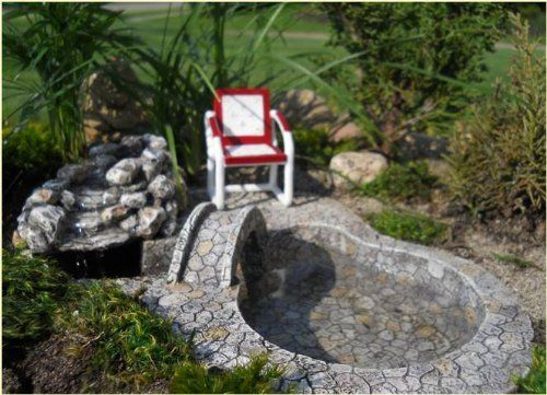 Miniature Fairy Garden Bridge Waterfall With Pond Pump For More Information Visit Now Gardening Diy Fairy Garden Bridge Miniature Garden