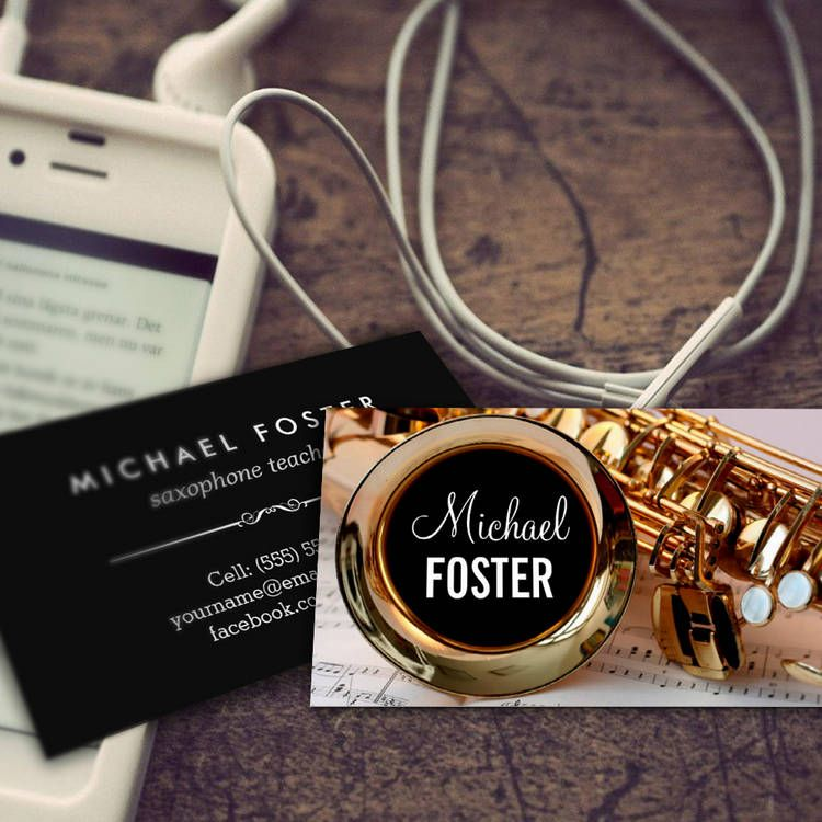 saxophonist saxophone teacher sax lessons business card template customize it and make it yours