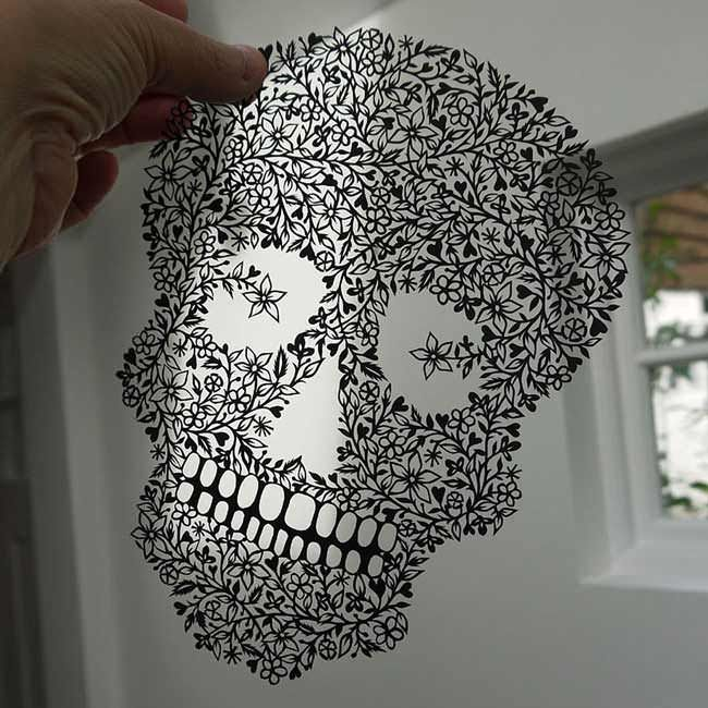 paper cutting skull Using only a sheet of paper, this artist manages to hand-cut intricate works of art