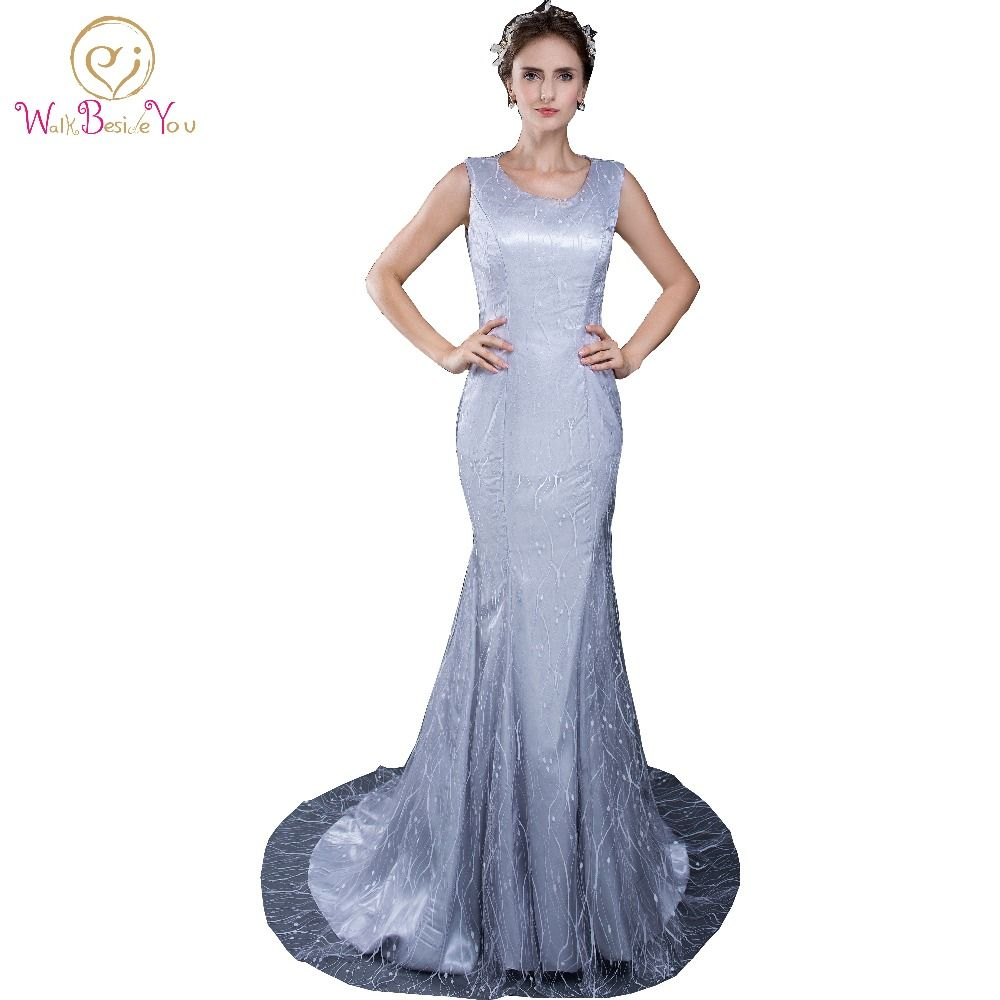 Click to buy ucuc elegant silver lace evening dresses sexy mermaid
