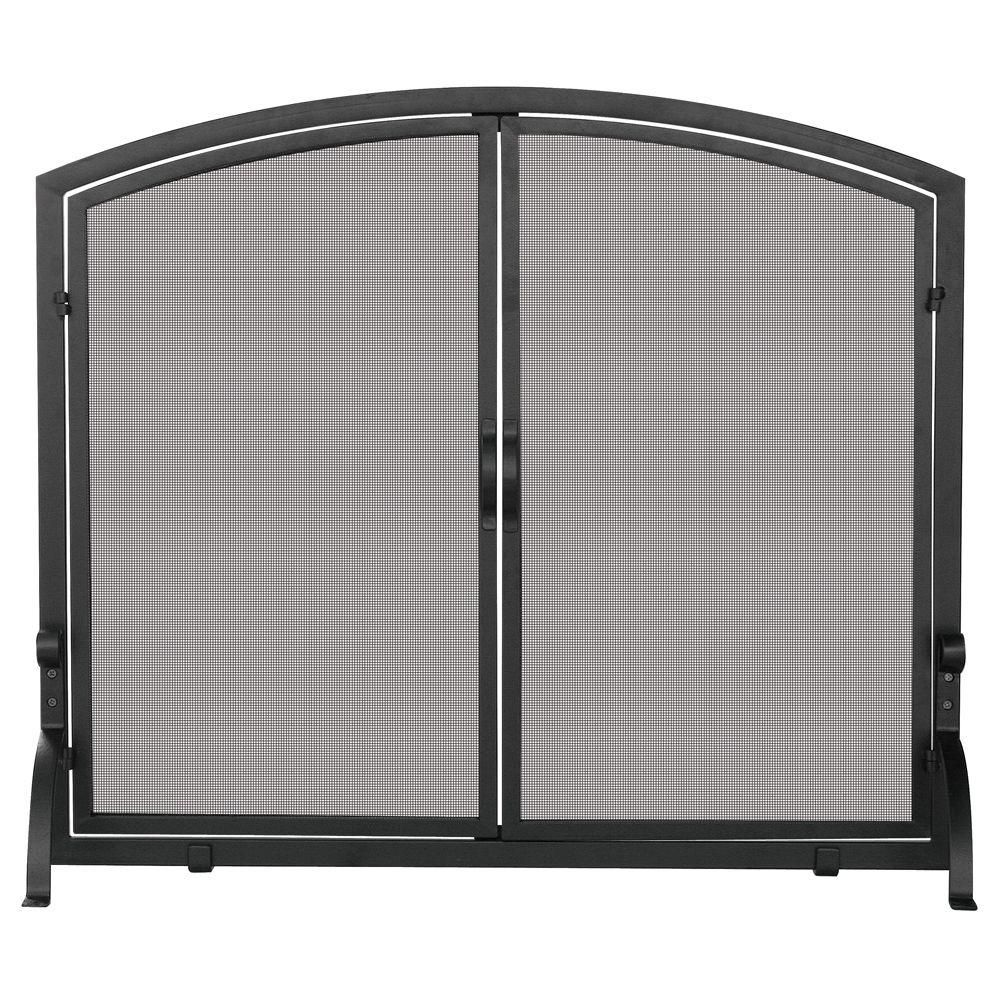Fireplace Screen Home Depot Uniflame Black Wrought Iron Single Panel Fireplace Screen With