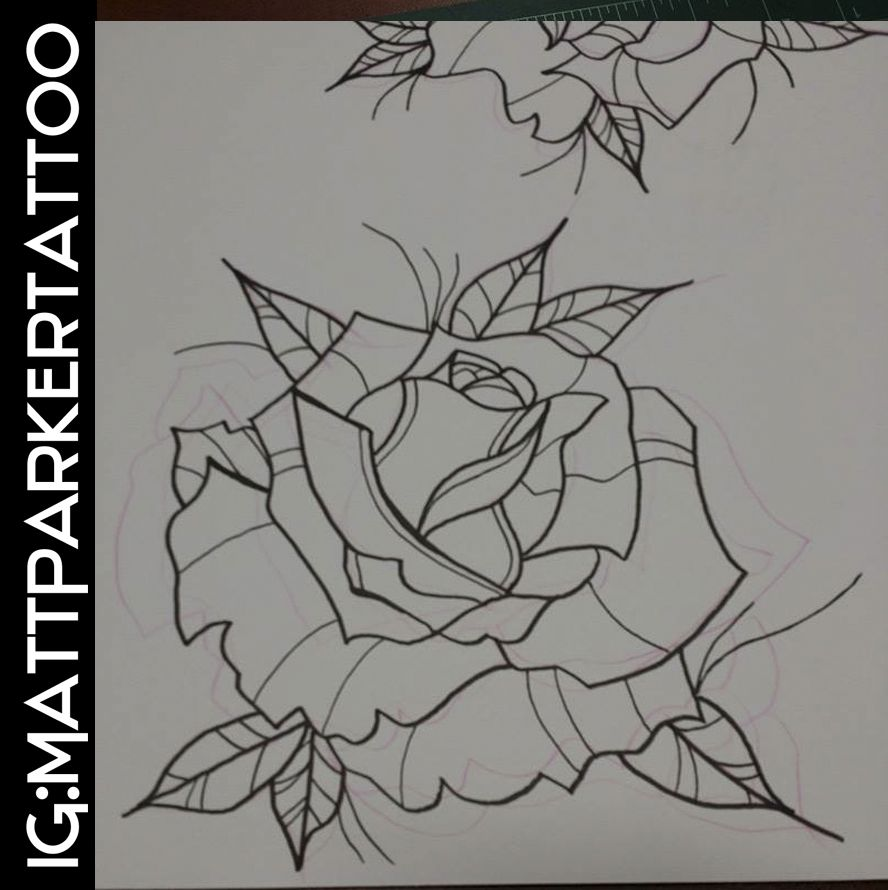 Rose Neo traditional Tattoo Flash | Tattoo Outline ...
