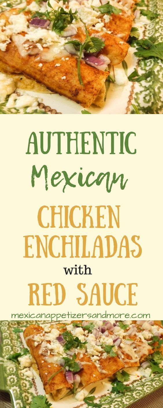 These Authentic Mexican Chicken Enchiladas with Red Sauce are tasty and super simple to make.  With just a few ingredients and steps, you will soon be eating authentic Mexican chicken enchiladas with red sauce too!