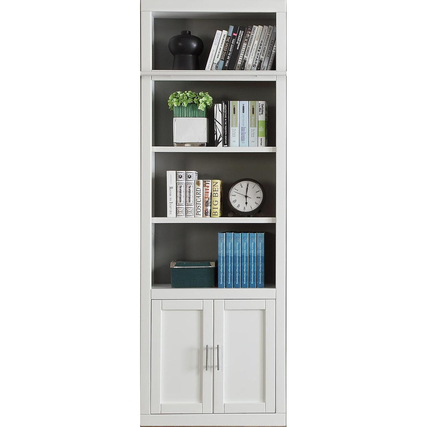 32 Inch Modern White Bookcase With Doors Catalina Bookcase