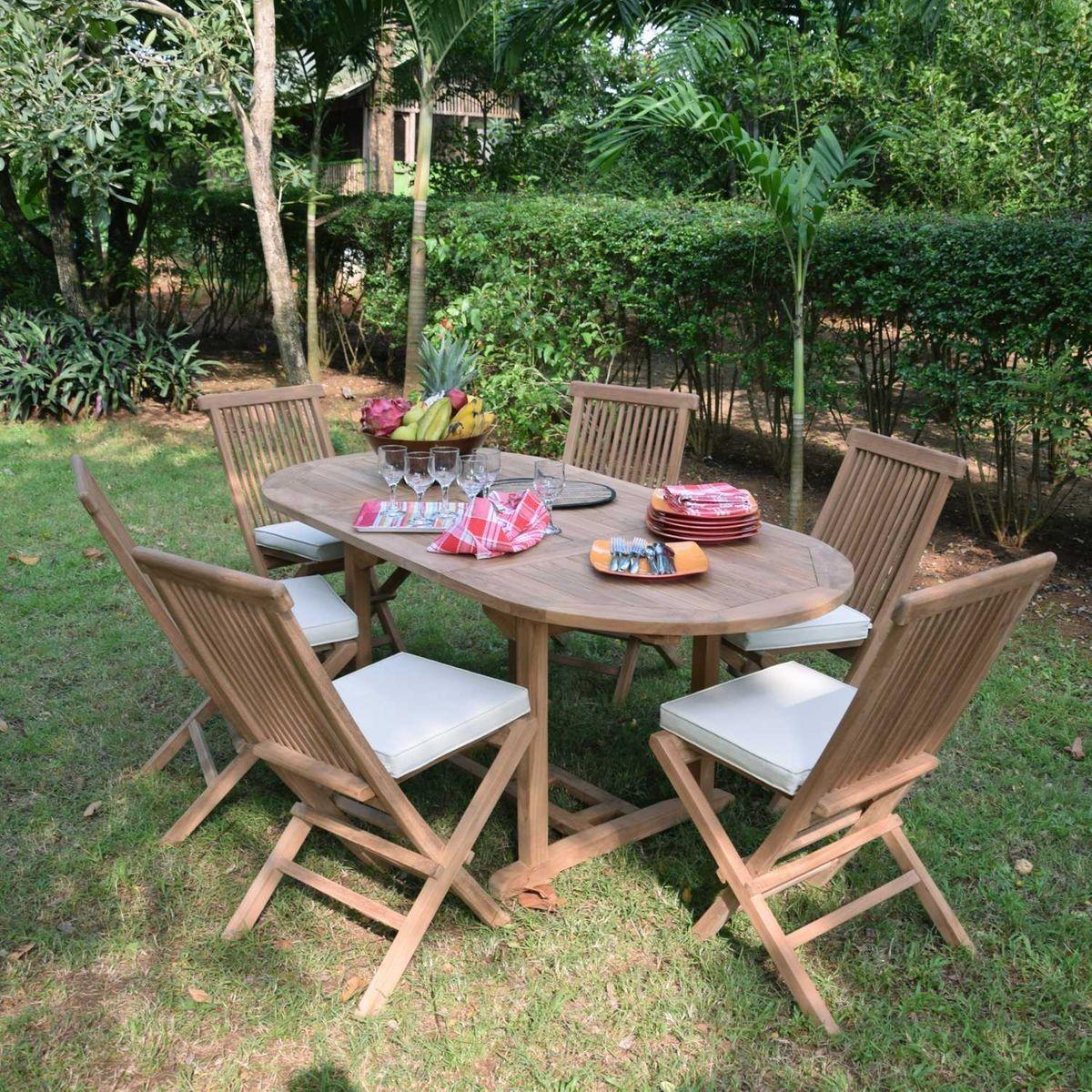 Salon De Jardin Teck Ecograde Manille 6 Chaises Salon De Jardin Teck Table Et Chaises De Jardin Et Meuble Jardin