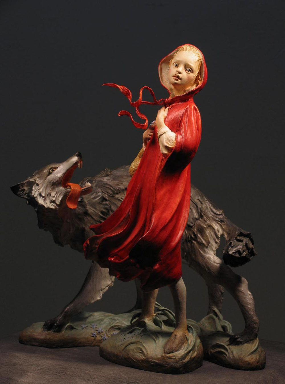 Little Red and the Wolf in air dry clay Premier, with Aves