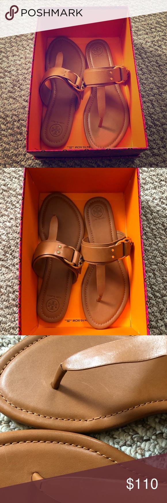 9e03603ce44 NIB Tory Burch Marsden flat leather sandal sz 9.5 Tory Burch