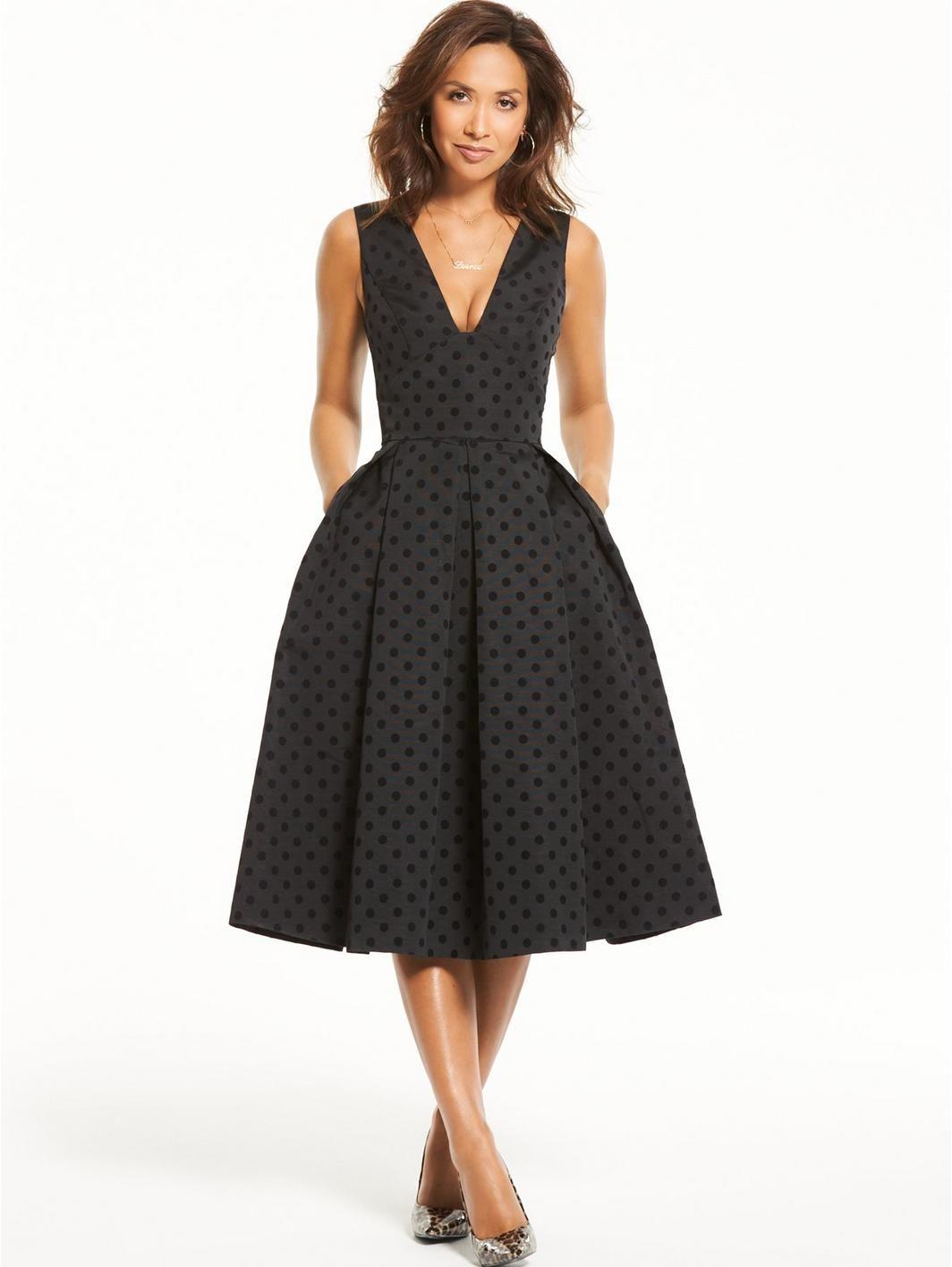 Myleene Klass Spot Prom Dress - Black fc6689b3a