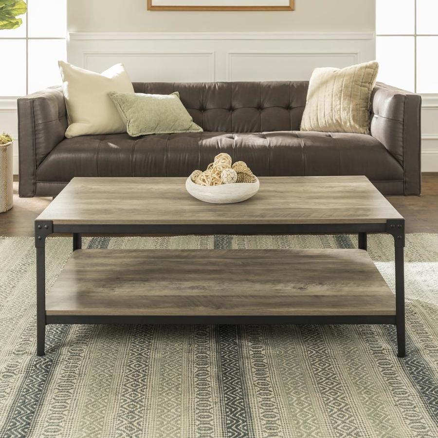 Walker Edison Grey Wash Wood Veneer Coffee Table Lowes Com In 2021 Coffee Table Rustic Coffee Tables Table Decor Living Room [ 900 x 900 Pixel ]