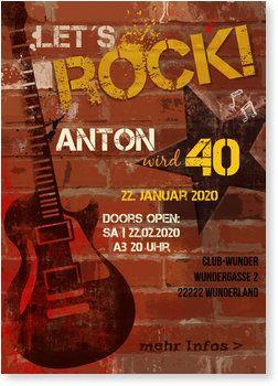 Einladungskarten Geburtstag Rock N Roll Einladungskarten Party