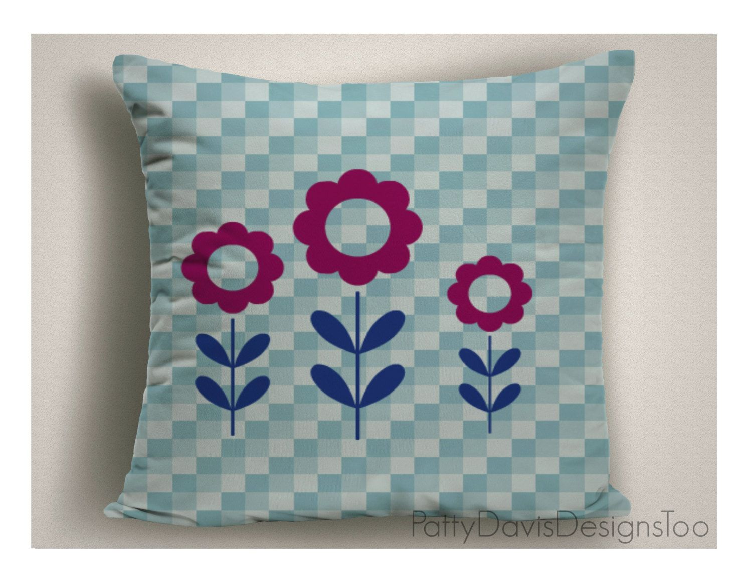 Decorative Throw Pillow With Original Design Blue And White Flower Pillows