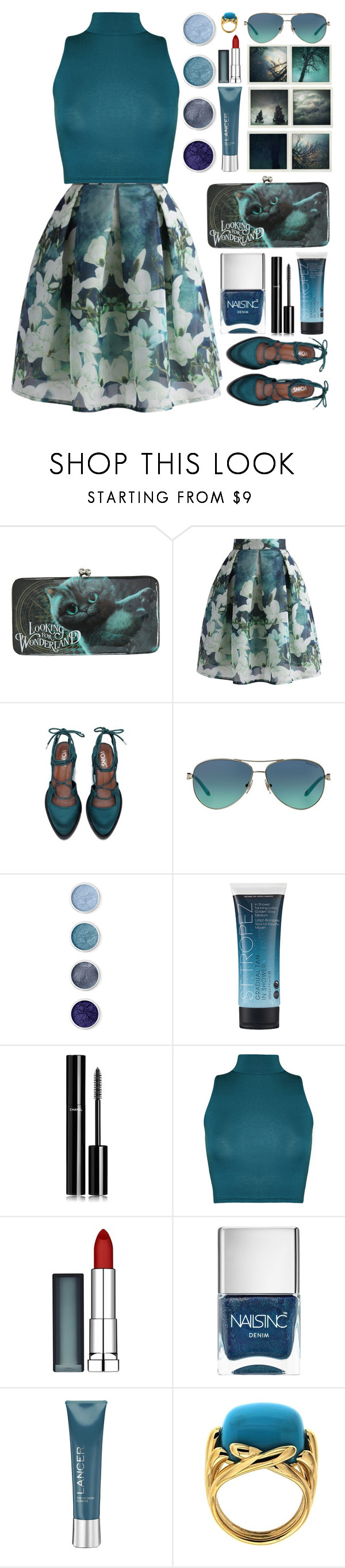 """""""ALICE // itsybitsy62"""" by itsybitsy62 ❤ liked on Polyvore featuring Polaroid, Disney, Chicwish, Tiffany & Co., Terre Mère, St. Tropez, Chanel, WearAll, Maybelline and Nails Inc."""
