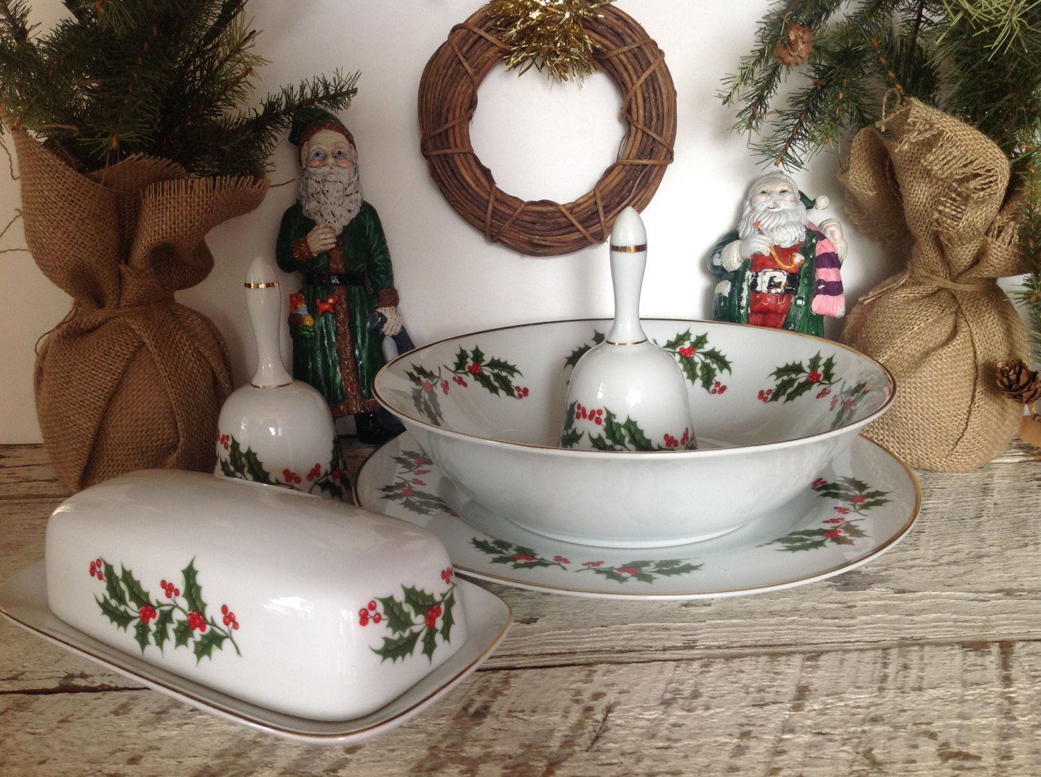 vintage christmas serving set holiday butter dish serving bowl plate and dinner bells