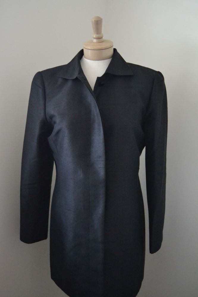 Linda Allard Ellen Tracy Black Silk Blazer Jacket Size 8