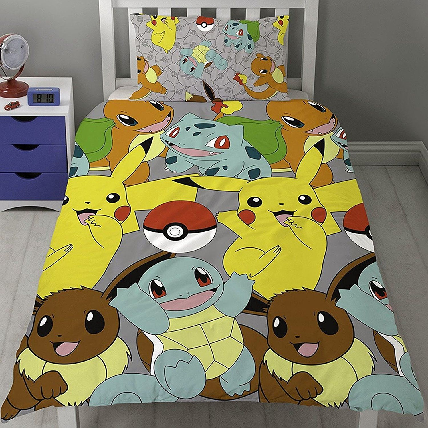 SINGLE BED POKEMON CATCH DUVET COVER PIKACHU SQUIRTLE CHARMANDER GREY YELLOW RED