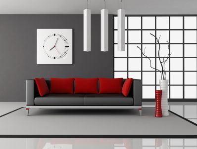 Picture of black and red living room with leather couch with pillow    rendering stock photo  images and stock photography the only way I could conceive  tone on tone   see most recent pin  . Living Room Ideas With Red Accent Wall. Home Design Ideas