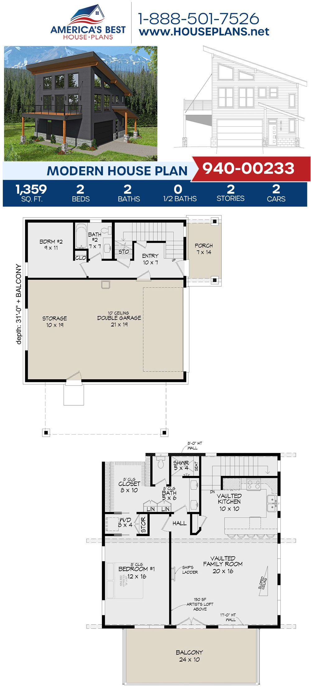 House Plan 940 00233 Modern Plan 1 559 Square Feet 2 Bedrooms 2 Bathrooms Small Modern House Plans Modern House Plan Garage Floor Plans