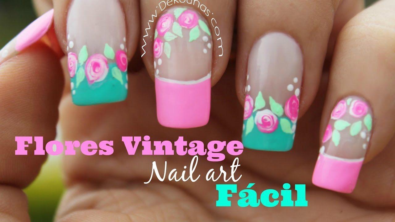 Decoracion de uñas FACIL rosas vintages - Easy vintage nail art ...