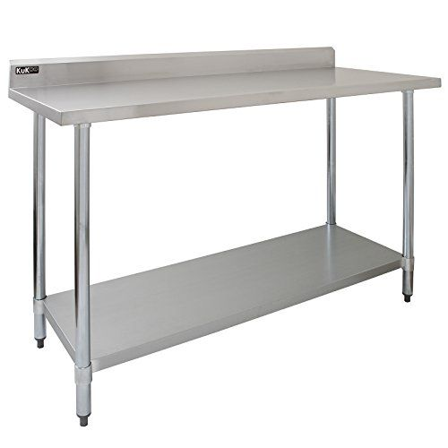 Kukoo Stainless Steel Commercial Catering Table Kitchen Work Bench Food Preparation Surface 5ft