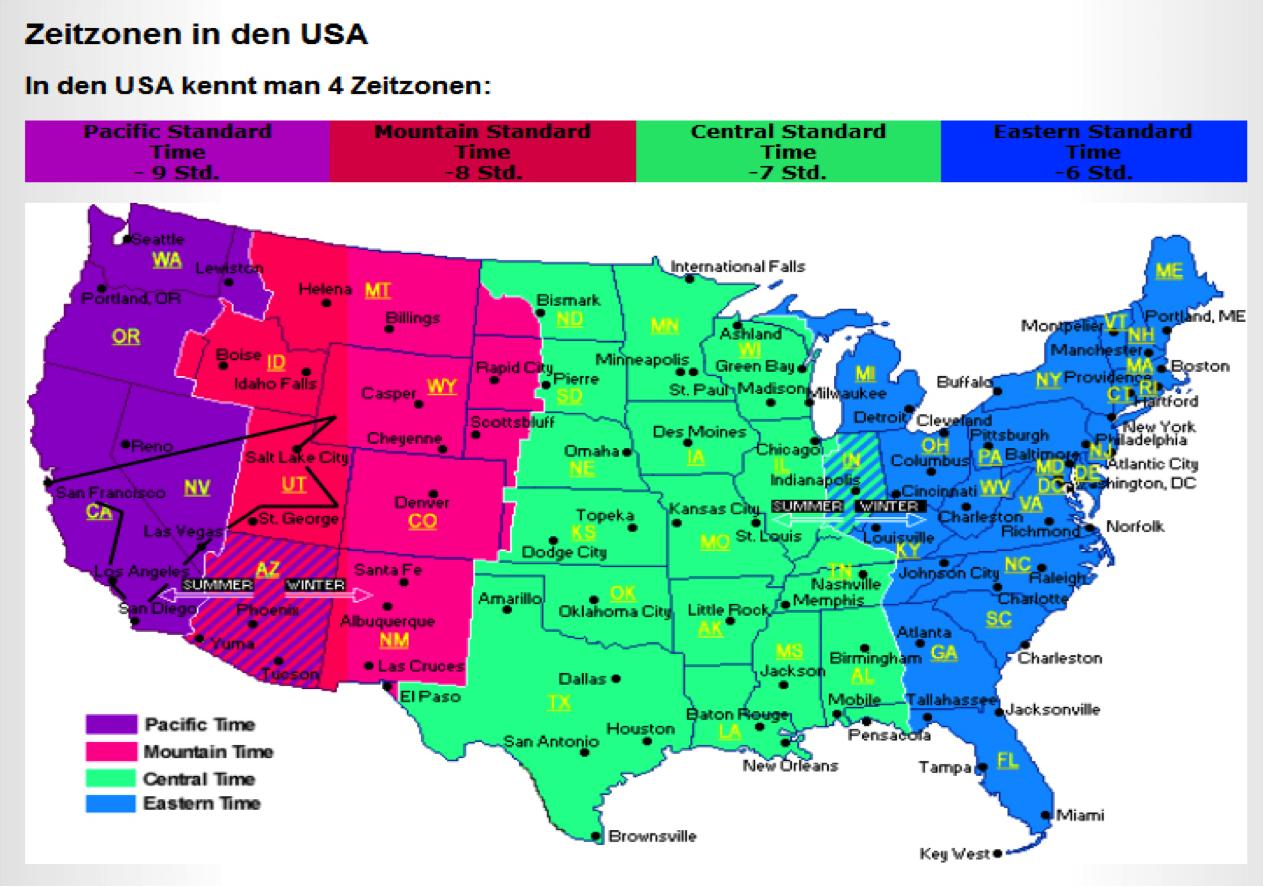 Zeitzonen Amerika Deutschland