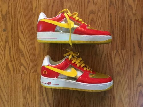 RARE Nike Air Force 1 McDonalds Red Gold See Through Mens