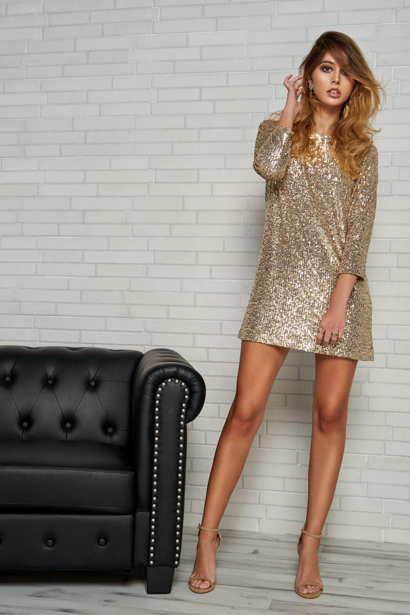 Vestido Corto De Lentejuelas Doradas Glitter Collection En