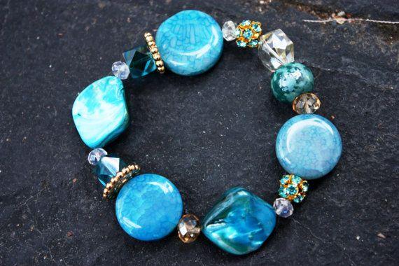 Frozen Blue Shell Beaded Stretch Bracelet