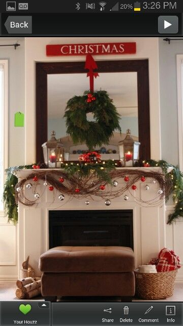 Christmas Mantle- love the hanging ornaments