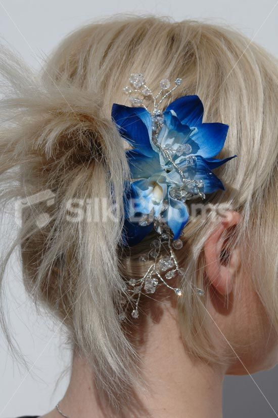 Modern Galaxy Blue Orchid Wedding Flowers Hair Comb W Crystals 39 99 Wedding Hair Clips Wedding Flower Hair Comb Wedding Hair Flowers